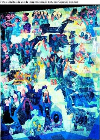 Painel Guerra: marcado por alegorias que remetem à pietà