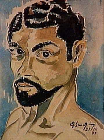 Auto-Retrato; aquarela, 44x35, 1944