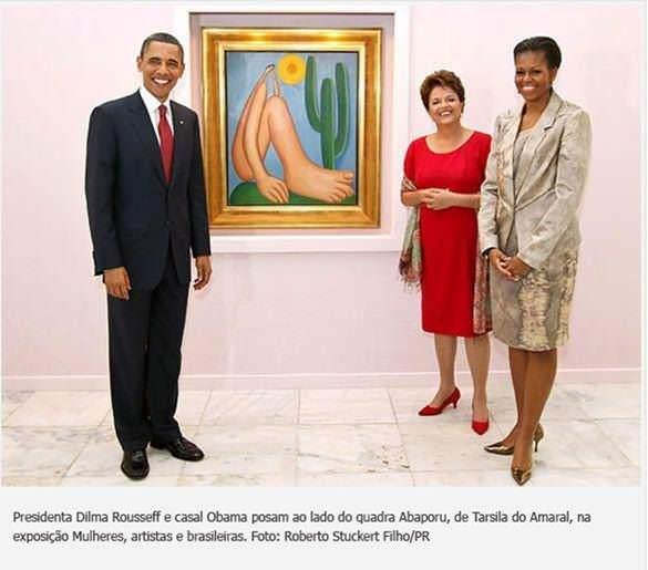 Presidenta Dilma Rouseff e casal Obama ao lado do quadro Abaporu